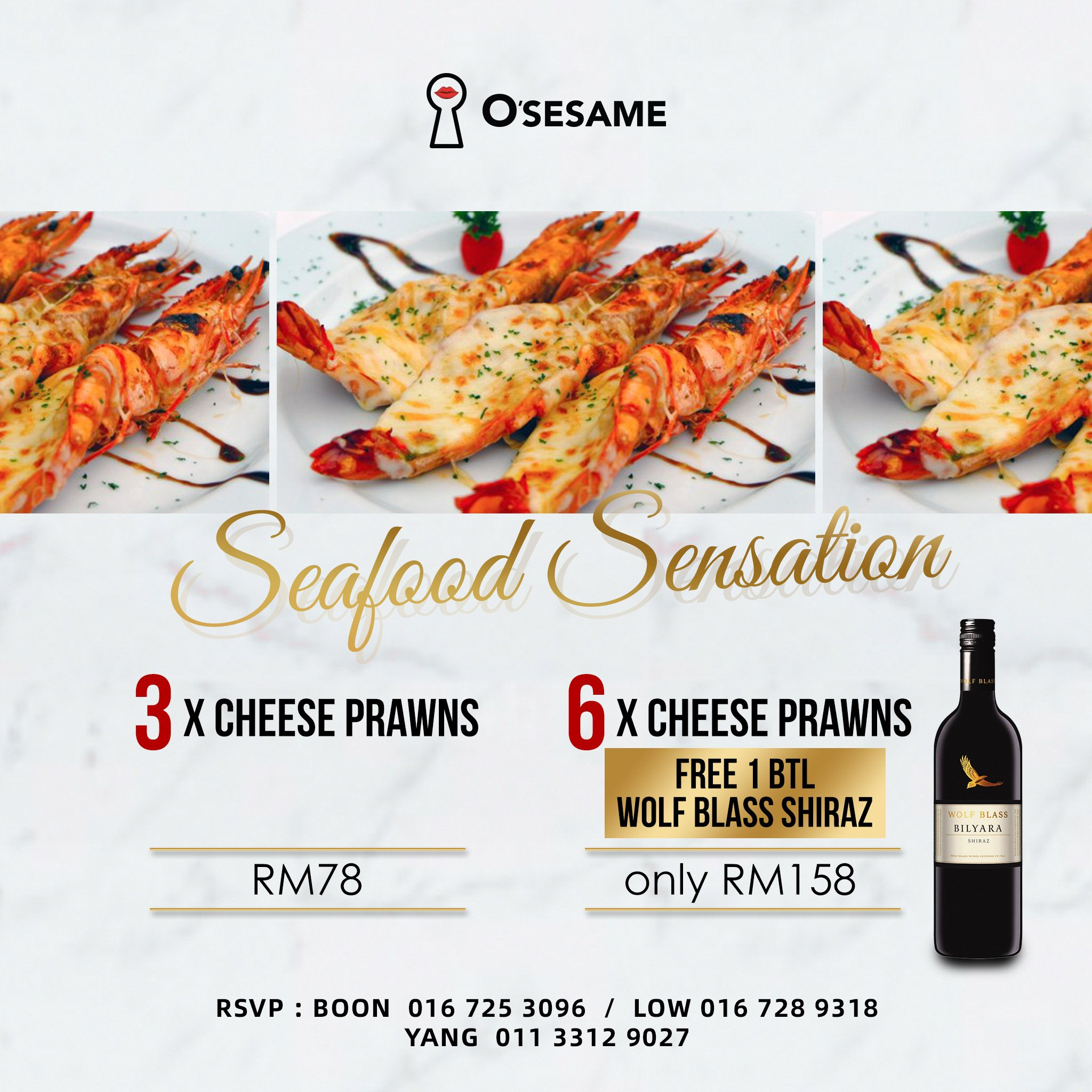 OSS Cheesy Prawn Free Red Wine Promo